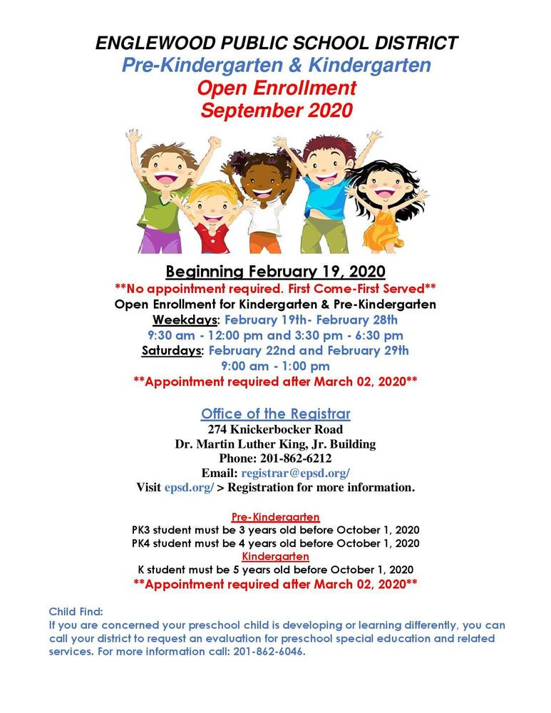 Pre Kindergarten & Kindergarten Enrollment for 2020 School Year to Begin on February 19