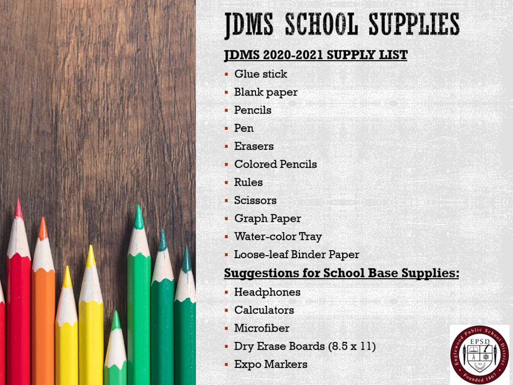 Janis Dismus Middle School Supply List 2020-2021